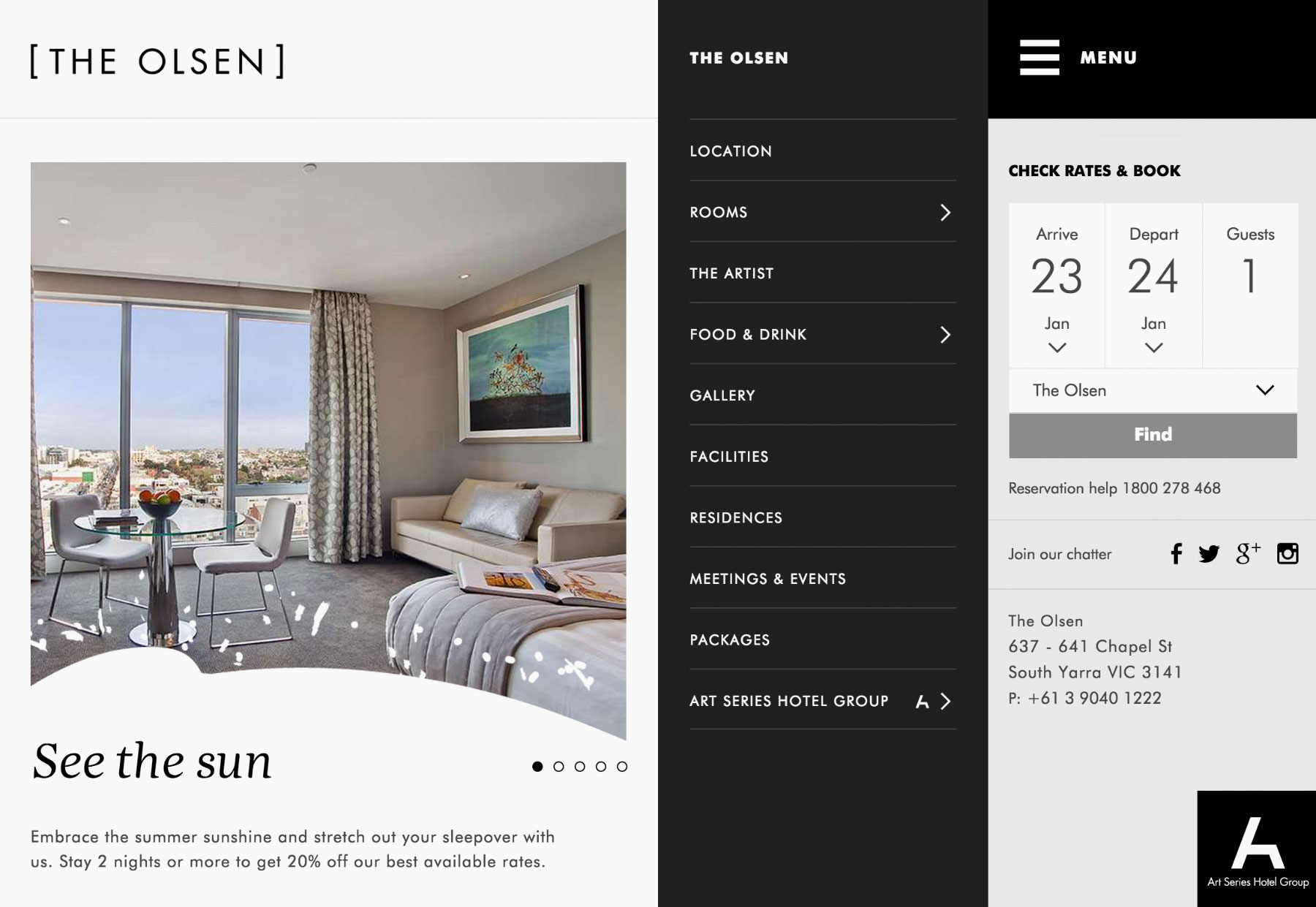 Diseño web hotel The Olsen