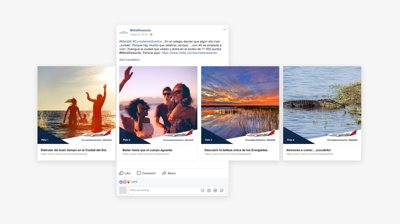 Facebook carrousel campaña melia rewards Cumpliendo Años cumpliendo sueños
