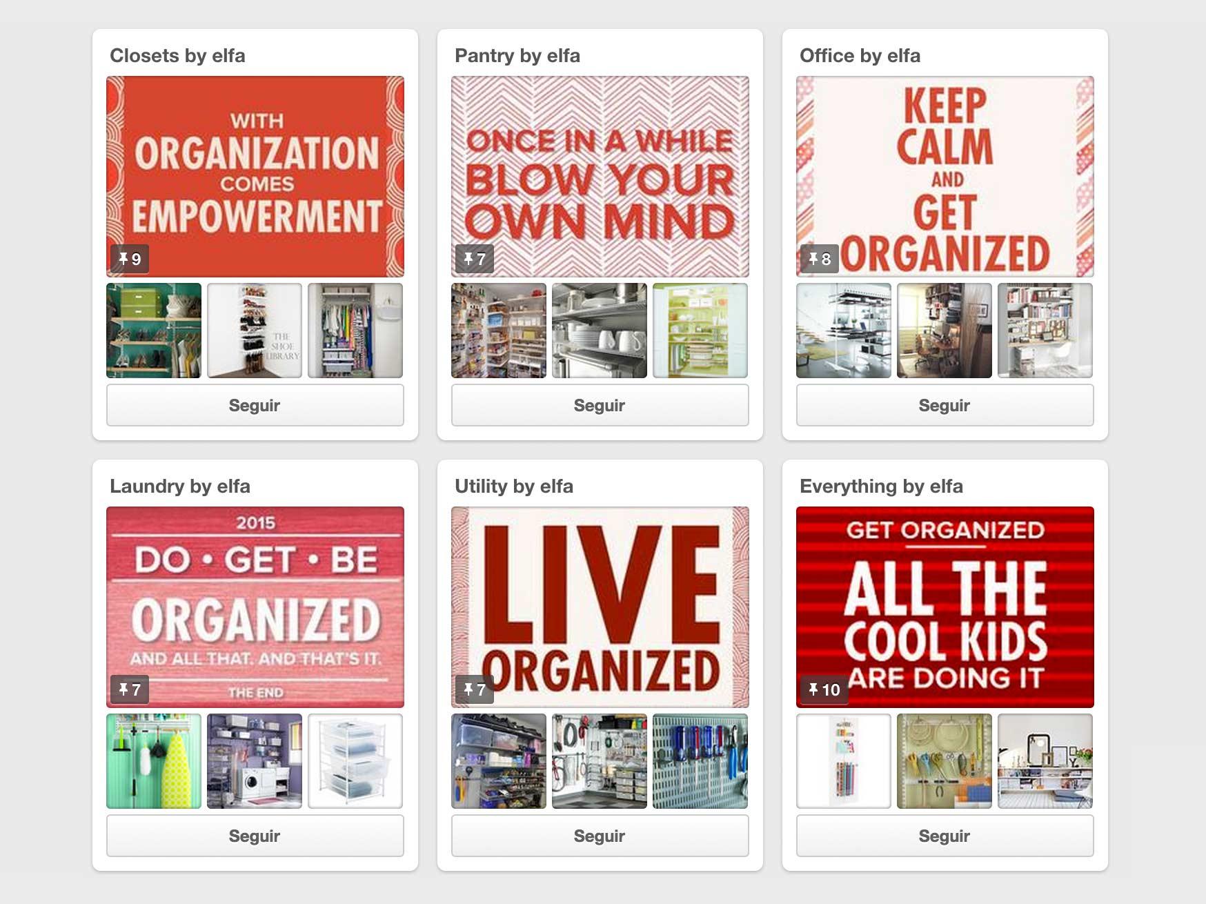 Pinterest empresas Elfa tableros