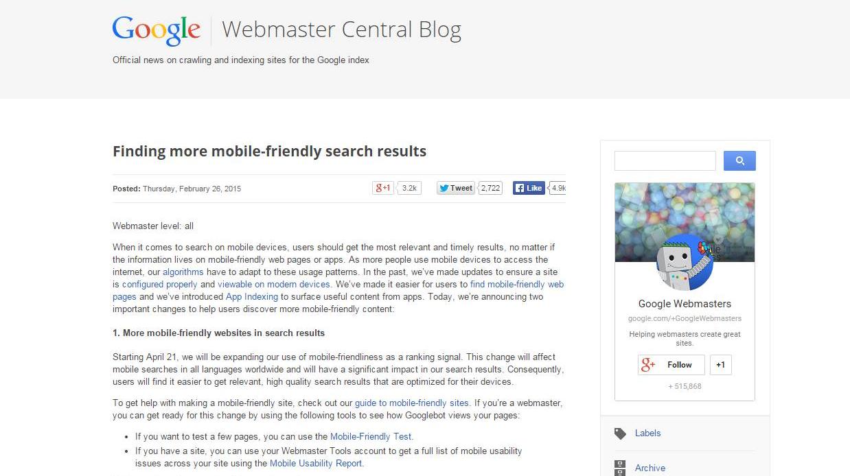SEO posicionamiento web responsive anuncio google 21 abril