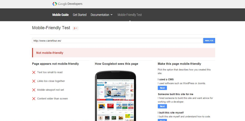 Test web mobile google Carrefour