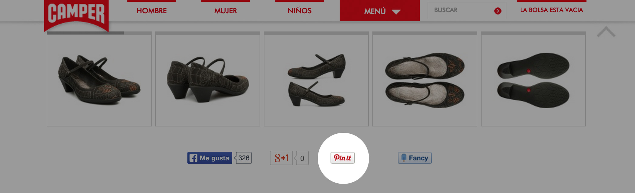 Pinterest empresas Camper botón social