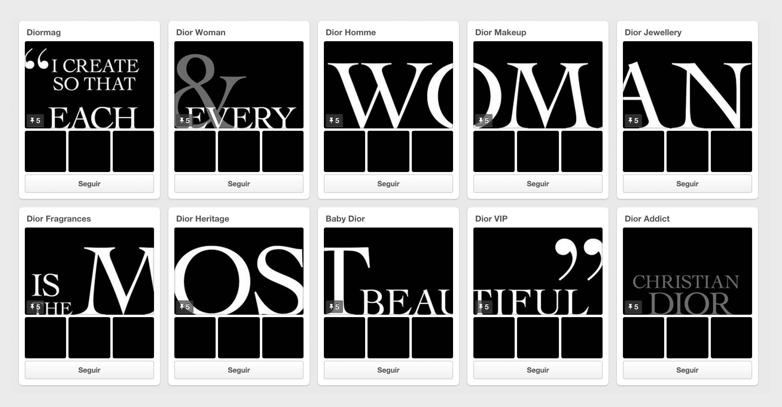 Pinterest empresas Dior tableros