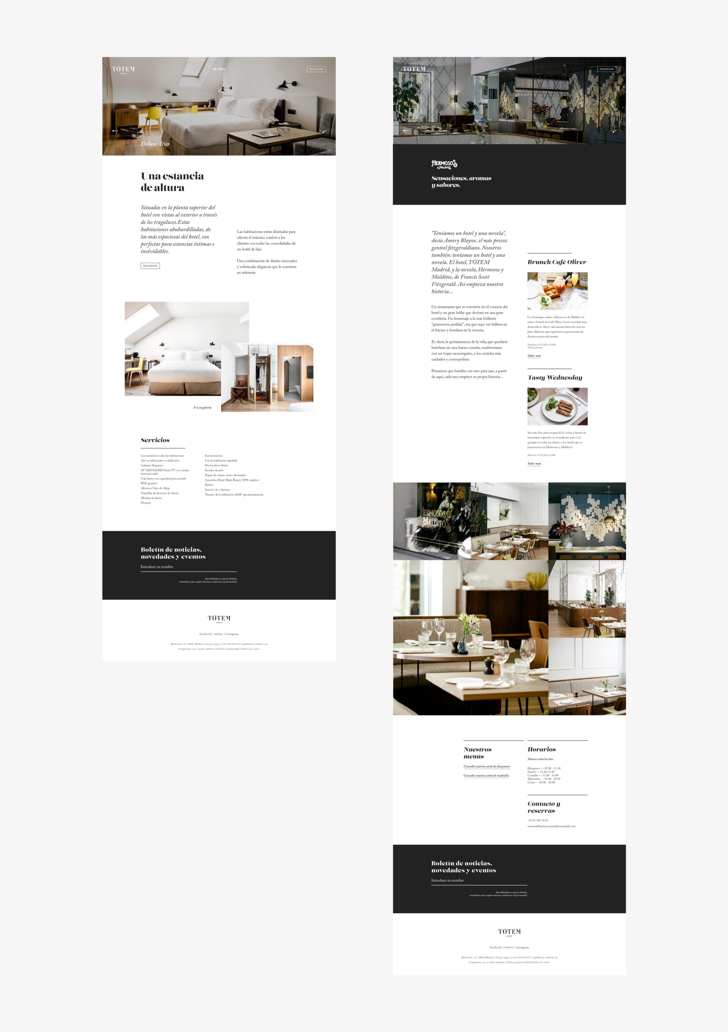 Tótem Madrid hotel web páginas detalle