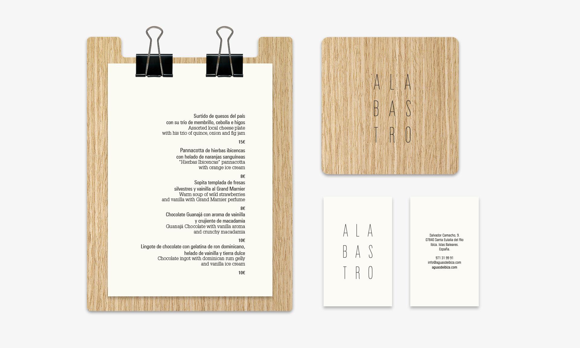 Aguas de Ibiza cartas Alabastro detalles