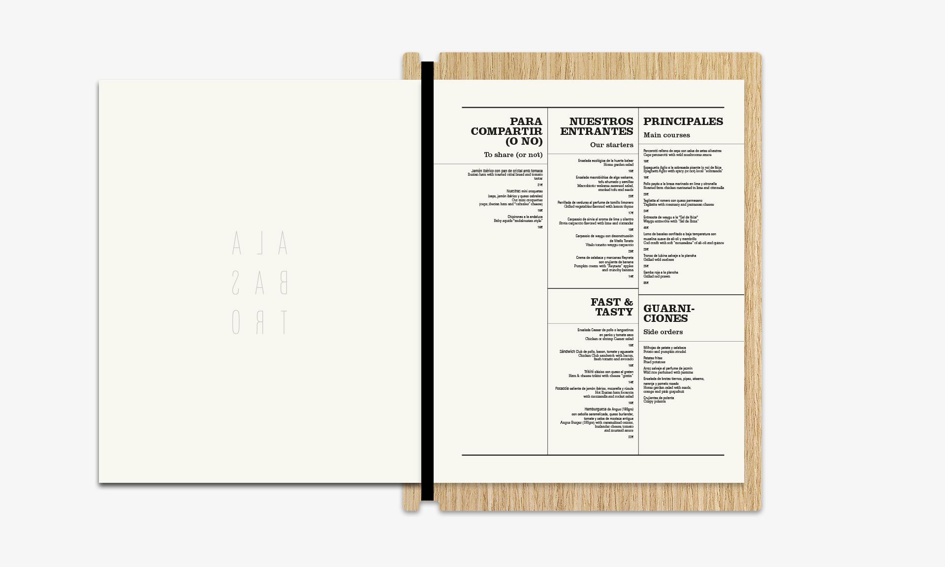 Aguas de Ibiza cartas Alabastro interior detalle menú