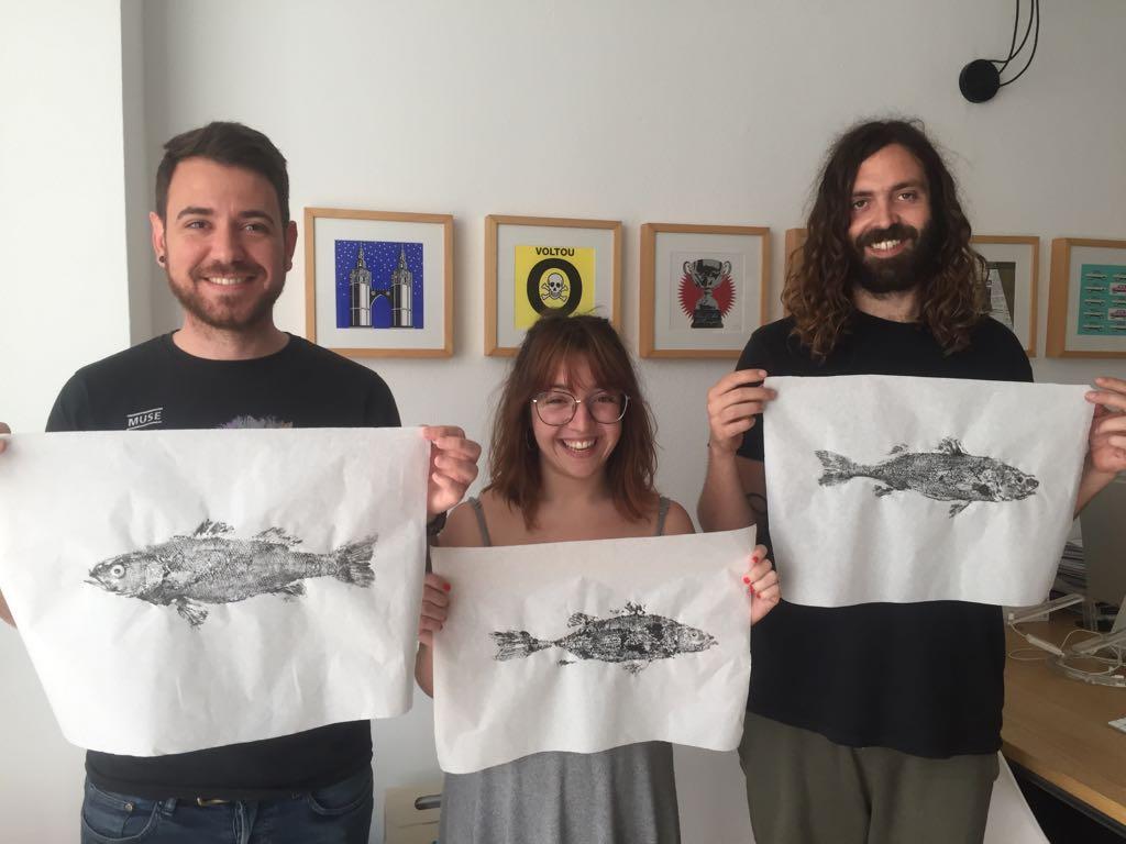 Taller gyotaku Mandarina Brand equipo
